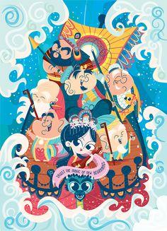 lustração de Clau Souza • Illustration of Clau Souza • clausouza.com • Compre este poster: loja.tenhaborogodo.com.br • poster para quarto de criança, japanese, ilustração vetorial, vector, cute illustration, daruma, maneki neko, buda, buddah, 7 deuses da felicidade, shichi fukujin, cultura oriental, poster oriental, fé oriental, amuleto da sorte, lucky, gato da sorte.