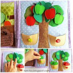 Ideas para crear un libro sensorial Diy Quiet Books, Baby Quiet Book, Felt Quiet Books, Baby Crafts, Felt Crafts, Crafts For Kids, Quilt Book, Silent Book, Sensory Book