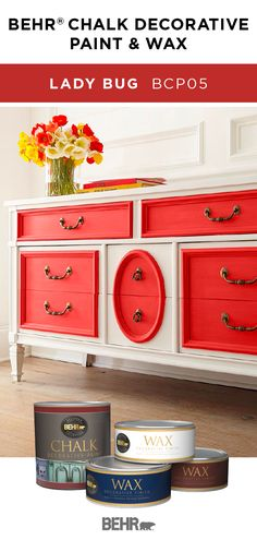 The perfect pop of red, BEHRⓇ Chalk Decorative Paint in Ladybug is a bright accent color on this painted dresser. Pair this bright color with neutral shades like white to create a fun and colorful style in your home. Click below for more color details. Painted Bedroom Furniture, Chalk Paint Furniture, Distressed Furniture, Furniture Decor, Bright Paint Colors, Kitchen Paint Colors, Painting Kitchen Cabinets, Wood Colors, Colours