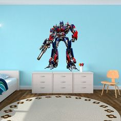 Optimus Prime Transformers - Autobots Wall Decal  Printed and Die-Cut Vinyl Apply  in any Flat Surface- Autobots Transformers Wall Decal on Etsy, $62.00