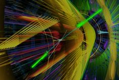 Image Caption: A simulation of the two-photon channel shows what ATLAS sees when the decay of a Higgs boson results in the production of two gamma rays. The blue beads indicate intermediate massive particles, and the bright green rods are the gamma-ray tracks. While the two-photon channel is the least likely Higgs decay, it is easier to observe than others with even noisier backgrounds. Credit: Lawrence Berkeley National Laboratory