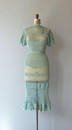 crochet dress outfits Three Kingdoms dress vintage dress by DearGolden Vestidos Vintage, Vintage Dresses, Vintage Outfits, Vintage Clothing, 1930s Fashion, Retro Fashion, Vintage Fashion, Fashion Women, Crochet Dress Outfits
