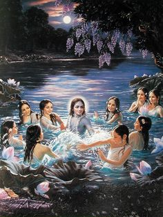 Hindu Art: Krsna and the gopis in the Yamuna river