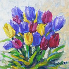 Lake Scene Paintings - Tulips Time Love the Spring by Prankearts  by Richard T Pranke