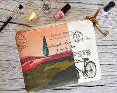 Pencil case, make up bag, linen zipper pouch with my painting printed on linen