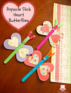 Popsicle Stick Heart Butterflies - Valentine Day Craft for Kids   Growing up Madison