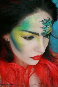 Makeup --Make-up Artist Me!: Viper - Artistic Makeup Look- I used TheBodyNeeds: Beyond Teal, Juniper, Shamrock, Envy, Lemon Drop, Steal the Night, and Red glitter on my lips.