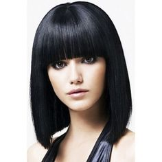 100% Real HairBlack Human Hair Straight Wig With Full Bang For Women