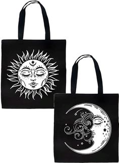 Rat Baby - Celestial Sun & Moon 2 Sided Pagan Occult Alt Gothic Tote Bag #infectiousthreads #goth #gothic #totebag #purse #ratbaby #celestial #sun #moon