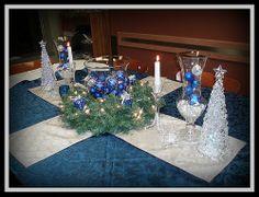Christmas tea table decorations | blue table decor | Christmas tea..