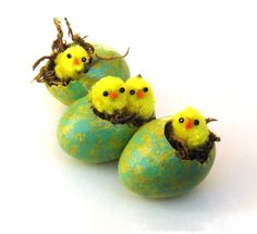 Egg Gourds, Spring Easter Eggs with Chicks Set of 3 Blue Yellow Painted Egg Gourds Decorations Ornaments