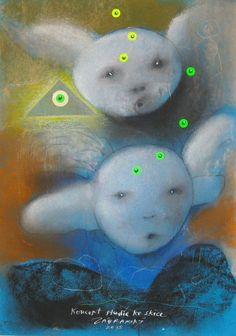 Concept of a Study of a Sketch, drawing - pastel on paper by Vlastimil Zábranský | Czech contemporary artist.