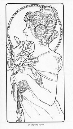 Motif Art Deco, Art Nouveau Pattern, Art Nouveau Design, Animal Coloring Pages, Coloring Book Pages, Coloring Sheets, Pablo Picasso, Alphonse Mucha Art, Jugendstil Design