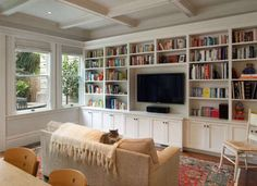 This is a great way to integrate a flat screen TV into a living room. Anchoring it in a custom built in makes it look natural and part of the room