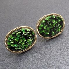 Vintage Cufflinks Green Art Glass Mens Jewelry #jewelryformen