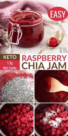An easy sugar free chia seed jam recipe that's low-carb and keto-friendly. It's the perfect topping for keto bread toast. An easy sugar free chia seed jam recipe that's low-carb and keto-friendly. It's the perfect topping for keto bread toast. Sugar Free Jam, Sugar Free Recipes, Jam Recipes, Raspberry Recipes Sugar Free, Recipes Dinner, Keto Foods, Low Carb Desserts, Low Carb Recipes, Paleo Recipes