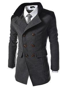 (KWC-CHARCOAL) Slim Double Breasted Suede Patched Wool Coat