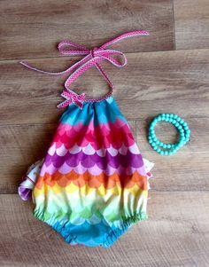 Baby Girl Ruffled Playsuit Size 0 Rainbow by sweetmissmini on Etsy