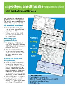 #CHICAGO 3/1-31: Grant's Financial Services Payroll Services For Small Business- 30 Days Free thru 3/31 #blackbusiness #supportblackbusiness