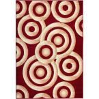 Miami Sunshine Circles Modern Geo Red 3 ft. 3 in. x 5 ft. Area Rug
