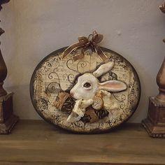 Alice In Wonderland - White Rabbit - Figure - Wonderland - Sculpted Figure - Wall Hanger - Framed Doll - Art Doll - Artistic Doll - OOAK by Rustiikkitupa on Etsy