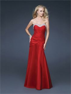 Mermaid Strapless Sweetheart Sequin Drape Red Prom Dress PD1662 ✿