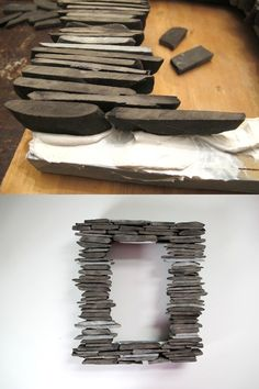 #DIY Stone Picture Frame >> http://blog.diynetwork.com/tool-tips/2013/03/07/diy-shale-slate-picture-frame/?soc=pinterest#