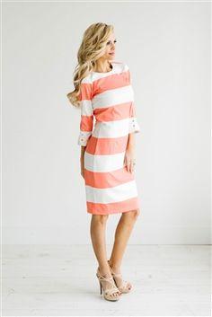 Coral Rose White Stripe Dress Down East Basics, Church Dresses, dresses for…