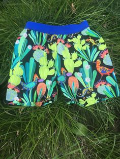 Cactus print shorts/cactus shorts/beach by TwigandPosy on Etsy