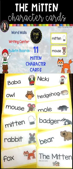 The Mitten Character Cards Focus Boards, Pete The Cats, Illustrated Words, Writing Centers, Jan Brett, Readers Theater, Number Words, Sequencing Activities, Word Walls