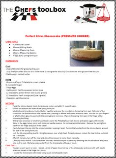 Pressure Cooker Cheesecake, Gluten Free Biscuits, Pressure Cooking Recipes, I Chef, Cooking Stove, Toolbox, Cheesecake Recipes, Clean Eating Recipes, No Bake Cake