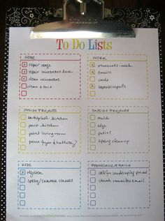 Free cheery to do list to keep your must-do's in order via Clean Mama