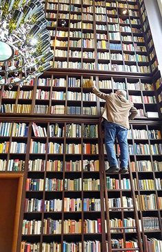 Here's to big libraries! Now can you find what you are looking for, that is the question! It's always on the top shelf.