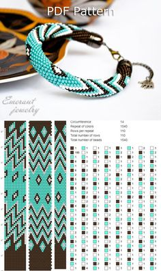 Bead crochet pattern seed bead bracelet tutorial pdf beading master Class jewelry make necklace Crochet Rope PDF tutorial geometric sands  This is a pattern for bead crochet bracelet. SIZE Circumference 15 Total number of rows 110  The pdf in English will be available for download after payment