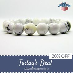 Today Only! 20% OFF this item.  Follow us on Pinterest to be the first to see our exciting Daily Deals. Today's Product: Sale -  Howlite American Pride Bracelet White Patriotic Bracelet Howlite American Patriotic Bracelet Handmade in USA Howlite Jewelry White B Buy now: https://www.etsy.com/listing/502693924?utm_source=Pinterest&utm_medium=Orangetwig_Marketing&utm_campaign=RED%20%20WHITE%20%26%20BLUE%20DAILY%20SALE #etsy #etsyseller #etsyshop #etsylove #etsyfinds #etsygifts #musthave #loveit…