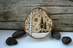 Winter Wonderland Series - Woodland Nature Art - Original Woodburning Art on Large Birch Round