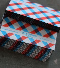 Les cartes de visite de Chris Gilmore avec tranches de couleur...