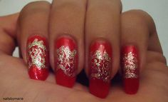 Chinese dragon inspired nails for the 31 day nail art challenge.