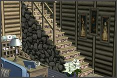 Holy Simoly Mountain Retreat Staircase Sims 2 Hair, Log Wall, Mountain Vacations, Winter Holiday, Maxis, Hoods, December, Stairs, Content