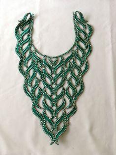 Sew On Diamante Beaded Indian Lace Trim Neckline Motif Wedding Applique Patch Lace Trim, Turquoise Necklace, Applique, Patches, Neckline, Indian, Sewing, Clothing, Ebay