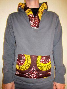 Customisation sweat CéWax http://www.alittlemarket.com/boutique/cewax-173629.html Style ethnique tissus africains, Ankara, african men fashion prints pattern fabrics, wax,, kente, kitenge, kanga, bogolan, pagne, mud cloth, woodin…