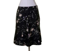 Ann Taylor Black Ivory & Pink Floral Print Silk A-Line Pin-tucked Skirt Size 8 #AnnTaylor #ALine