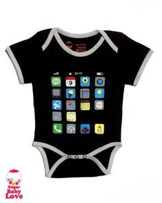 baby bodysuit  i baby  i phone  black onesie by SugarBabyLove, $17.00