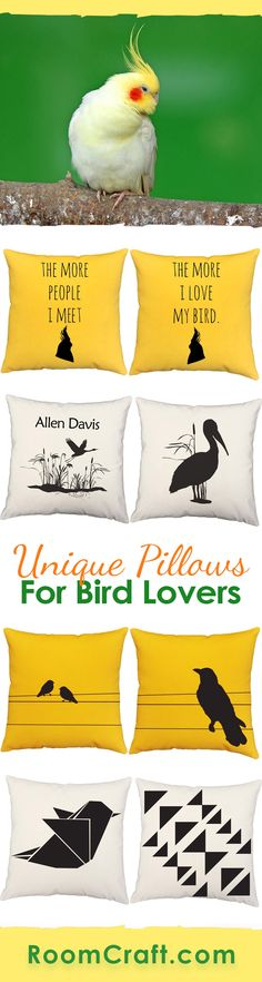 Bird watchers and Avian experts rejoice! These unique bird throw pillows are a great way to show your love for all avian things. Each colorful and vibrant design is offered in multiple fabrics, sizes, and colors making them perfect for any room in your home, office or sunroom. Our quality avian pillow covers are made to order in the USA and feature 3 wooden buttons on the back for closure. Choose your favorite and create a truly unique pillow set. #roomcraft