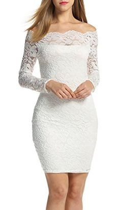 ACEVOG Women's Off Shoulder Lace Dress Long Sleeve Bodycon Casual Dresses Measurements: for choosing proper size, use similar clothing to compare with Lace Party Dresses, Evening Dresses, Wedding Dresses, Dress Party, Party Wear, Bodycon Cocktail Dress, Bodycon Dress, Godmother Dress, Off Shoulder Lace Dress