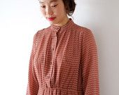 Red and brown chevron pattern japanese vintage dress