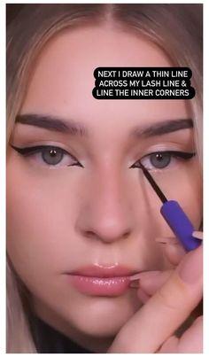 Makeup Tutorial Eyeliner, Makeup Looks Tutorial, No Eyeliner Makeup, Skin Makeup, Natural Eyeliner Tutorial, Makeup Tutorial Videos, Kawaii Makeup Tutorial, Eyeliner Ideas, Lip Tutorial