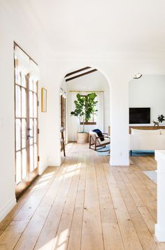 Gorgeous wide planked wood floors and bright spaces - I love how they are all different widths! #MinimalistBedroom