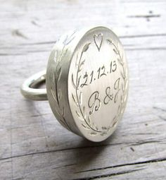The more sophisticated (and portable) answer to carving your initials into a tree: Thula Jewelry's personalized sterling silver rings. Have one engraved with the day you met, the day you wed, or any other meaningful milestone. #etsy