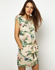 The muted colors in this drop-waist dress make for a mellow, relaxed look.